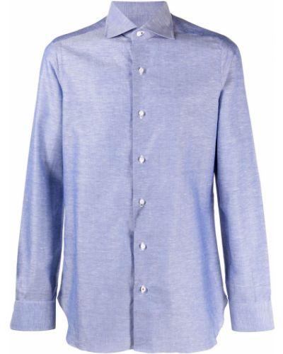 Niebieska koszula bawełniana z długimi rękawami Isaia