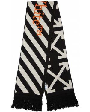 Prążkowany czarny szalik bawełniany Off-white