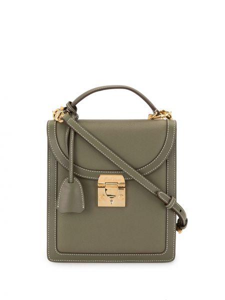 Кожаная золотистая зеленая сумка на плечо позолоченная Mark Cross