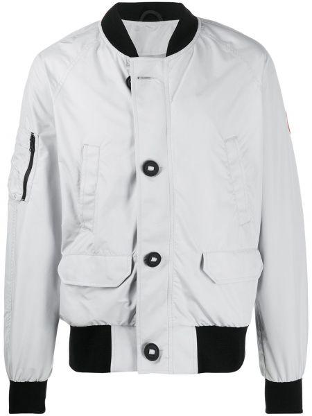 Prążkowana długa kurtka z nylonu z długimi rękawami Canada Goose Kids