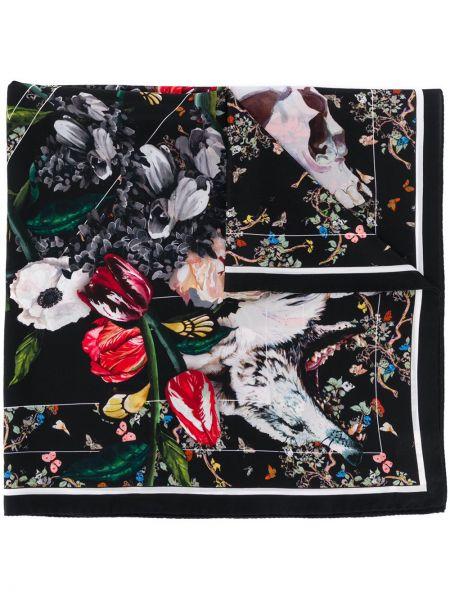 Czarny szalik z jedwabiu w kwiaty Zadig&voltaire
