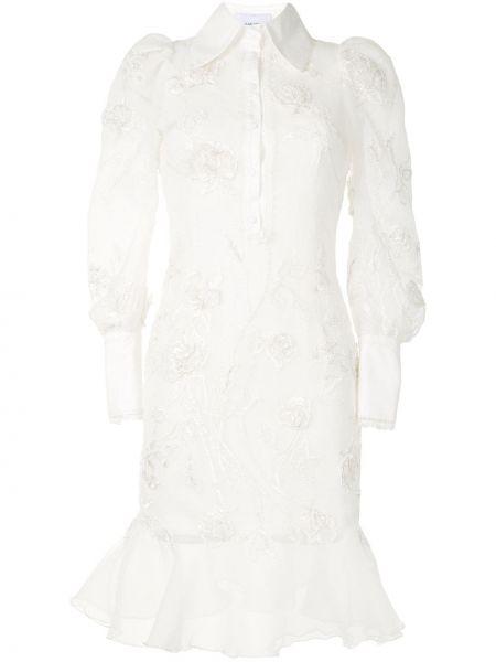 Платье макси с длинными рукавами - белое Marchesa