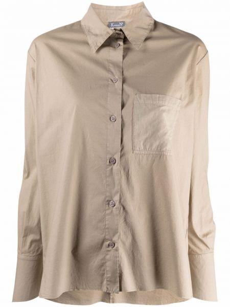 Зеленая классическая рубашка с длинными рукавами с карманами Kristensen Du Nord