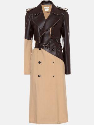 Шерстяное бежевое кожаное пальто Bottega Veneta