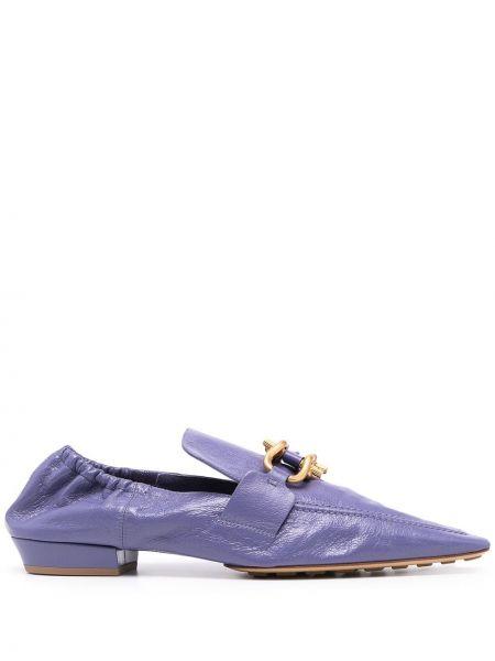 Кожаные мокасины золотые на каблуке Bottega Veneta