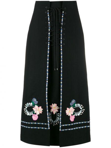 Черная ажурная юбка макси на молнии с вышивкой Vilshenko
