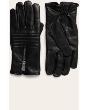 Skórzany rękawiczki czarny Diesel