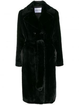 Черное длинное пальто с воротником с поясом Stand