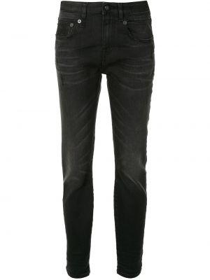 Черные джинсы-скинни с пайетками эластичные на пуговицах R13