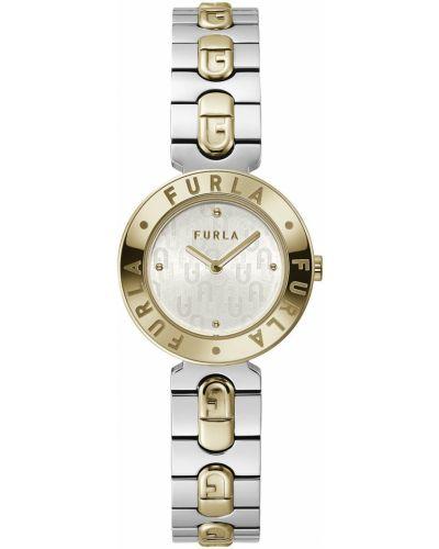 Zegarek kwarcowy srebrny pozłacany Furla