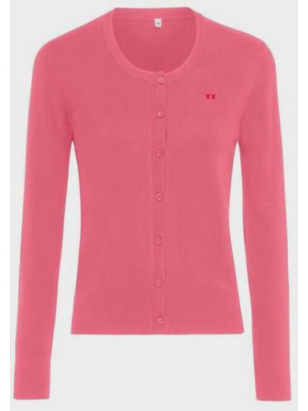 Розовый длинный свитер круглый с вырезом Mexx