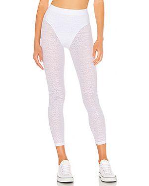 Белые нейлоновые брюки на резинке с поясом с открытым носком Adam Selman Sport