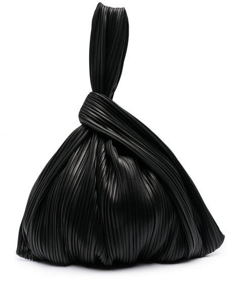 Плиссированная черная сумка-тоут Nanushka