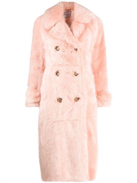 Różowy klasyczny długi płaszcz z klapą sztuczne futro Urbancode
