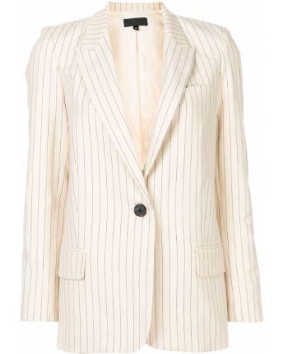 Однобортный белый удлиненный пиджак в полоску Nili Lotan