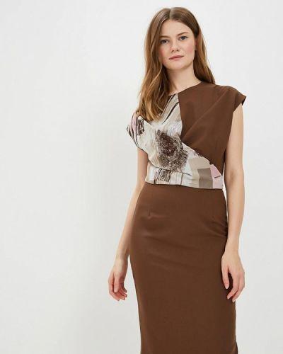 Коричневое платье-футляр Adzhedo