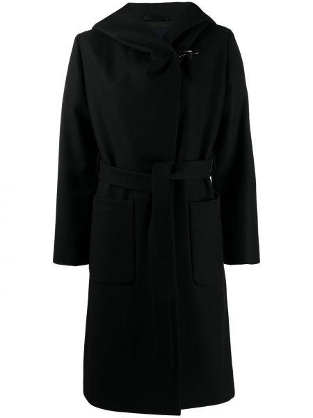 С рукавами шерстяное черное пальто классическое с запахом Fay