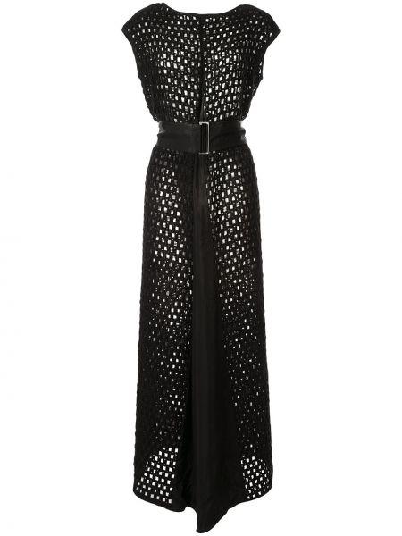 Прямое шелковое платье макси без рукавов с вырезом Taylor