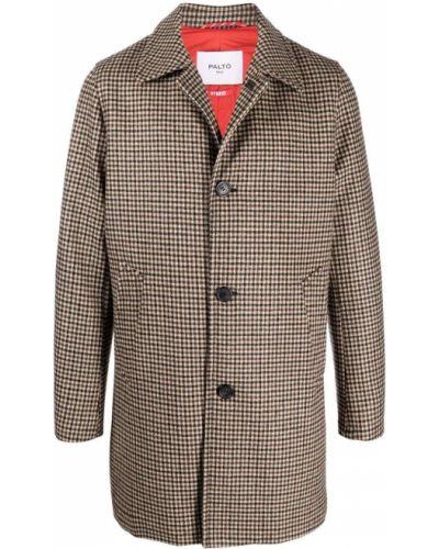 Brązowy długi płaszcz wełniany Palto