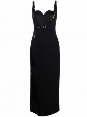 Шелковое платье макси - черное Versace