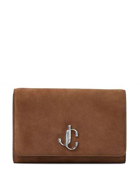 С ремешком коричневая кожаная сумка на цепочке Jimmy Choo