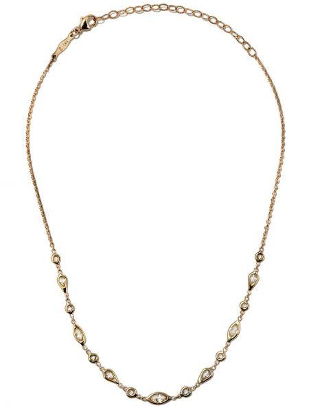 Золотистое белое ожерелье с бриллиантом Jacquie Aiche