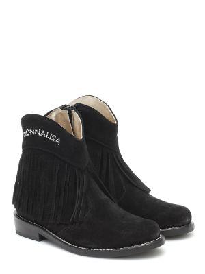 Skórzany czarny buty Monnalisa