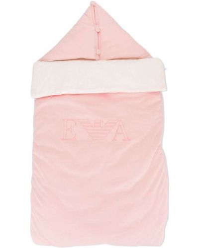 Różowa torebka bawełniana z haftem Emporio Armani Kids