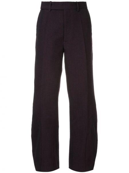 Шерстяные фиолетовые брюки с поясом на пуговицах Namacheko