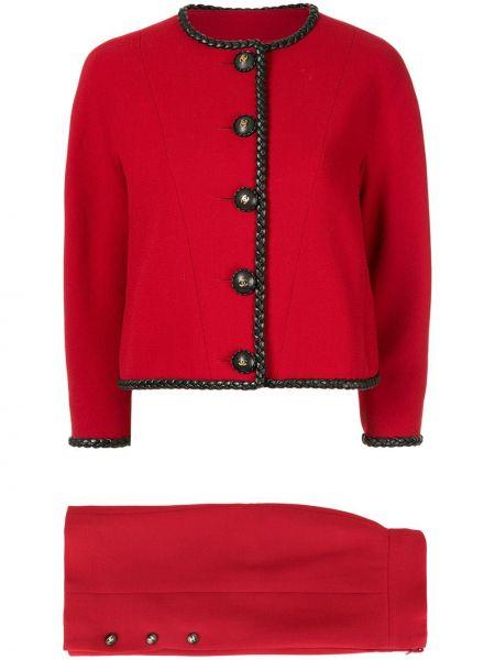 Юбка винтажная с вырезом на пуговицах круглая Chanel Pre-owned
