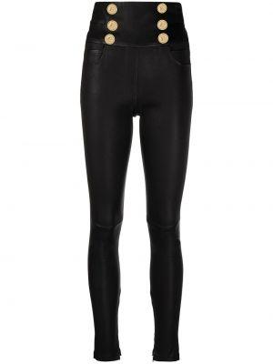 Кожаные брюки - черные Balmain