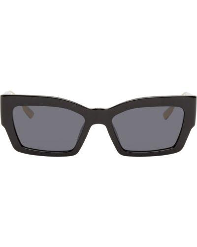 Кожаные черные солнцезащитные очки прямоугольные Dior