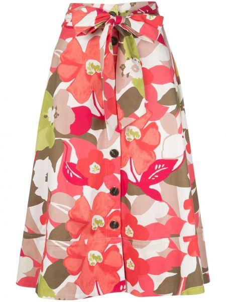 Хлопковая красная с завышенной талией юбка на пуговицах Natori