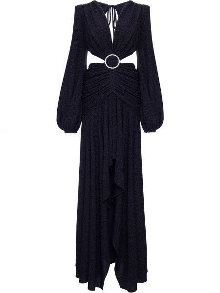 С рукавами черное платье макси с вырезом Patbo