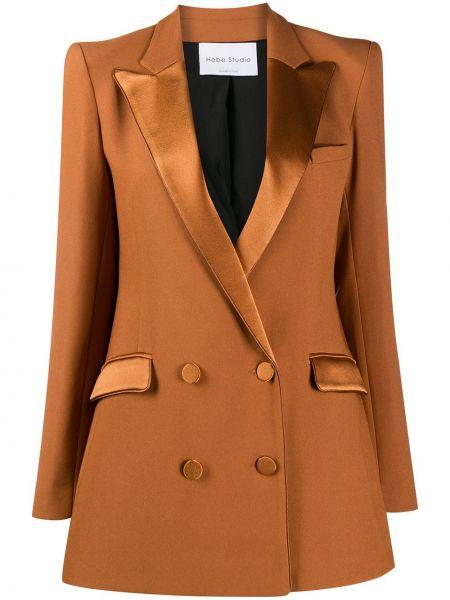 Коричневый пиджак с карманами на пуговицах двубортный Hebe Studio
