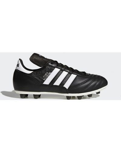 Кожаные черные футбольные бутсы Adidas