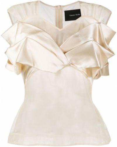 Шелковая блузка прозрачная с вырезом с короткими рукавами Simone Rocha