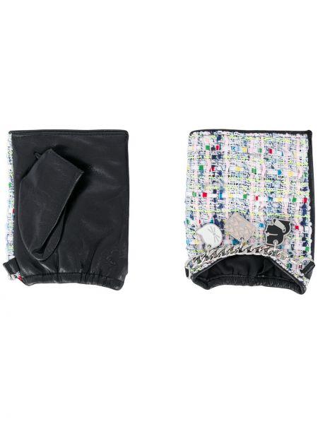 Черные текстильные кожаные перчатки с манжетами с тиснением Karl Lagerfeld