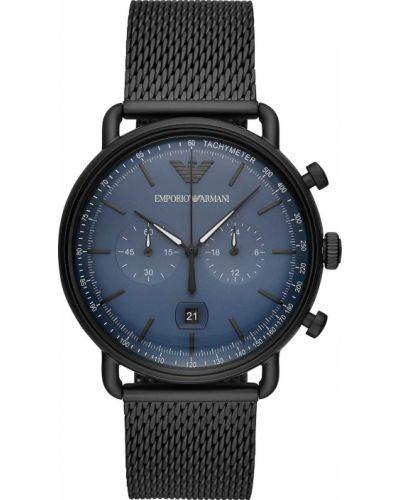 Часы водонепроницаемые синий серебряный Emporio Armani