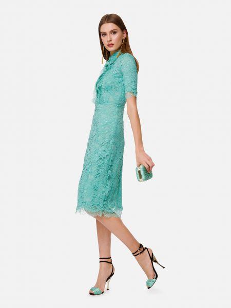Зеленое платье на пуговицах из вискозы Elisabetta Franchi