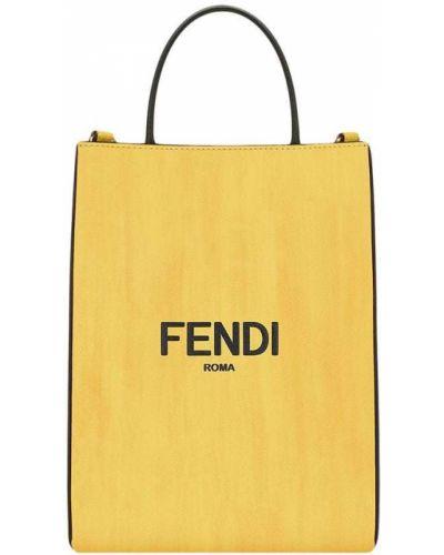 Желтая кожаная сумка шоппер круглая Fendi