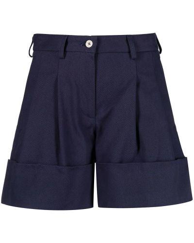 Синие хлопковые короткие шорты со складками Jejia