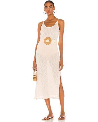 Bawełna światło beżowy włókienniczy sukienka midi Majorelle