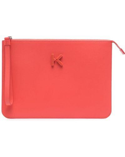 Różowa kopertówka skórzana Kenzo