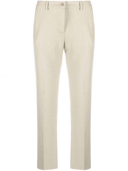 Шерстяные тонкие укороченные брюки на пуговицах с высокой посадкой Pt01