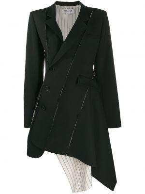 Шерстяное черное длинное пальто с капюшоном Monse