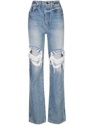 Хлопковые синие джинсы на пуговицах с поясом Khaite