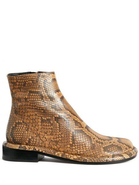 Коричневые кожаные ботинки на плоской подошве Proenza Schouler