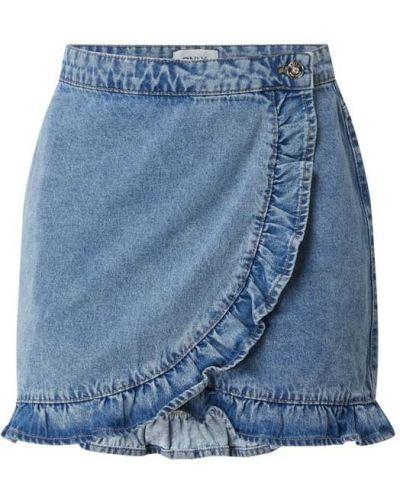 Niebieska spódnica mini rozkloszowana z falbanami Only