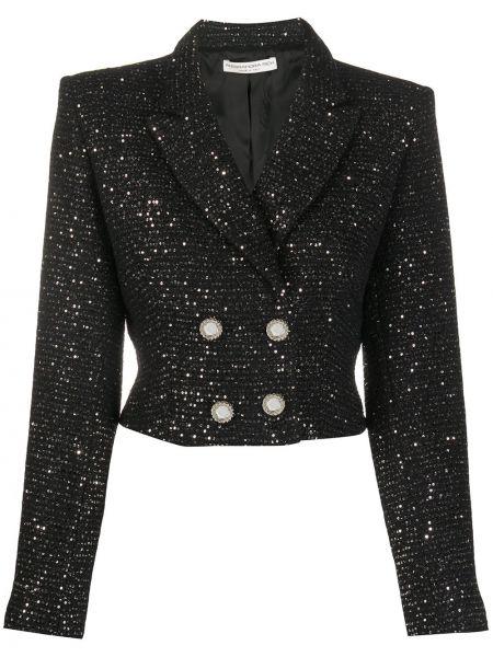 Черная длинная куртка для полных двубортная Alessandra Rich